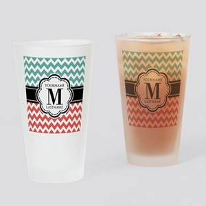 Teal and Coral Chevron with Custom Drinking Glass