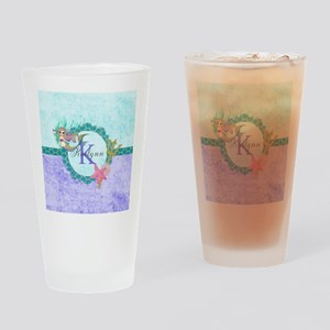 Personalized Monogram Mermaid Drinking Glass