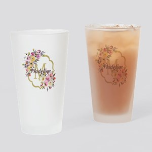 Watercolor Floral Gold Monogram Drinking Glass