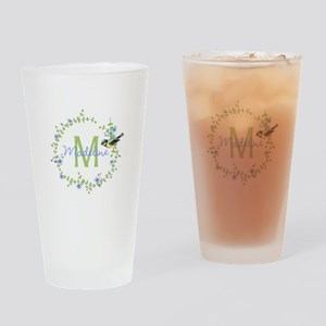 Bird Floral Wreath Monogram Drinking Glass