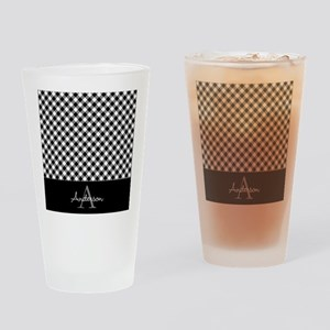 Black and Gray Squares Drinking Glass