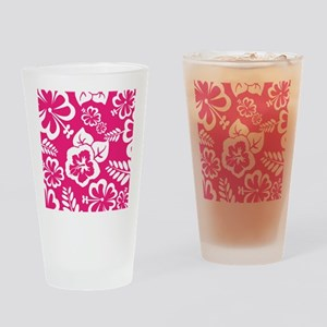 Hot Pink Tropical flowers Drinking Glass