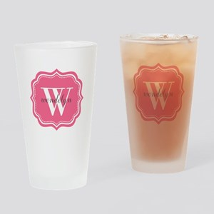 Pink Custom Personalized Monogram Drinking Glass