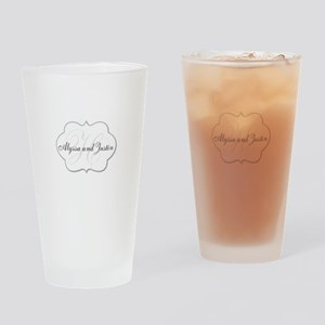Elegant Monogram and Name Design Drinking Glass