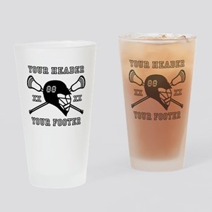 Lacrosse Team Black Alpha Drinking Glass