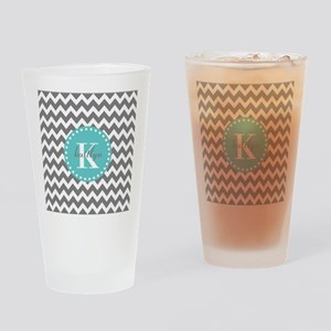 Gray and Turquoise Chevron Custom M Drinking Glass
