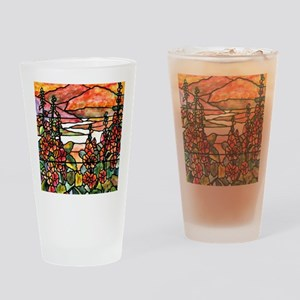 Red Hollyhocks in Landscape Drinking Glass