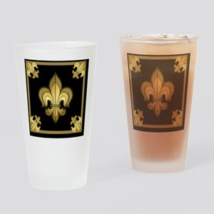 FleurWDgoldMsq Drinking Glass