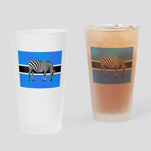 Botswana Zebra Flag Drinking Glass