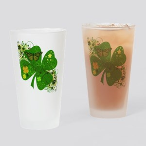 Fancy Irish 4 leaf Clover Drinking Glass