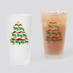 Funny Alligator Christmas Tree Drinking Glass