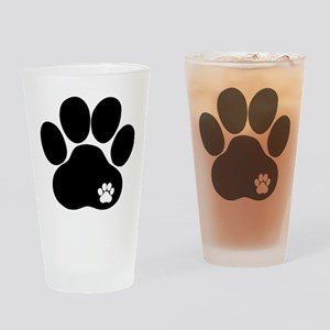 Double Paw Print Drinking Glass
