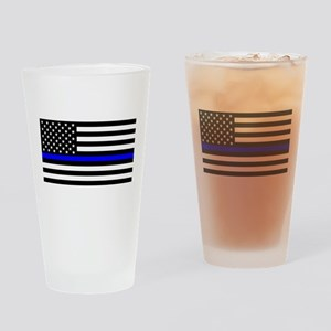 Police: Clear Black Flag & Thin Blu Drinking Glass