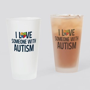 Love Someone with Autism Drinking Glass