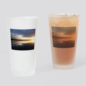 Breaking Dawn Over Still Lake Water Drinking Glass