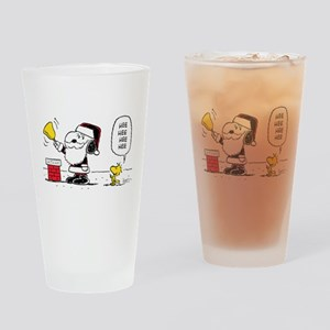 Santa Snoopy and Woodstock Drinking Glass