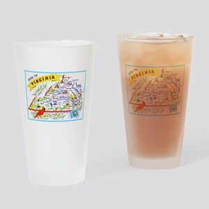 Virginia Map Greetings Drinking Glass