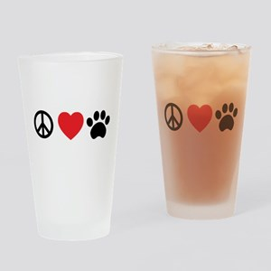 Peace Love Paw Drinking Glass
