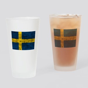 Distressed Sweden Flag Drinking Glass