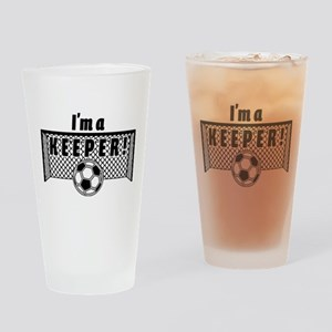 Im a Keeper soccer fancy black Drinking Glass