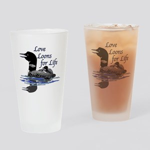 Love Loons for Life Drinking Glass