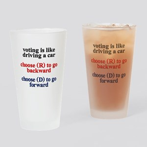 Democrat Voting/Driving Drinking Glass