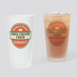 cross country coach vintage logo Drinking Glass