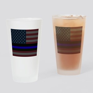 Police Blue Line Drinking Glass