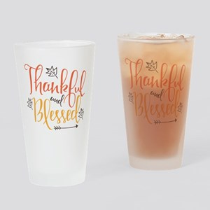 Thankful and Blessed Drinking Glass