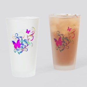 Bright Pink Butterfly Drinking Glass