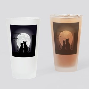 Two cats one moon Drinking Glass