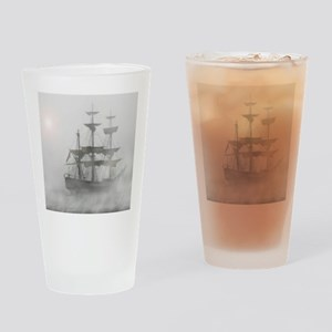 Grey, Gray Fog Pirate Ship Drinking Glass