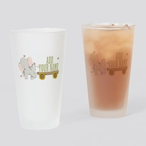 PERSONALIZED Cute Elephant Cart Drinking Glass