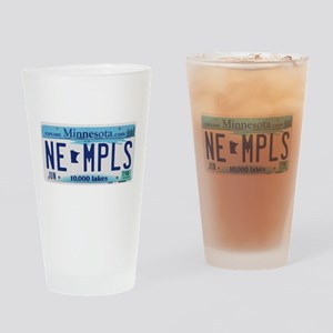 NE Minneapolis License Plate Drinking Glass
