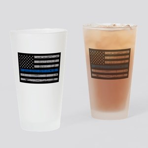 The thin blue line stressed flag Drinking Glass