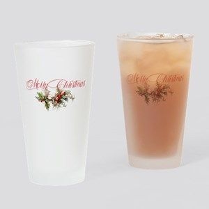 Merry Christmas Holly and berries Drinking Glass