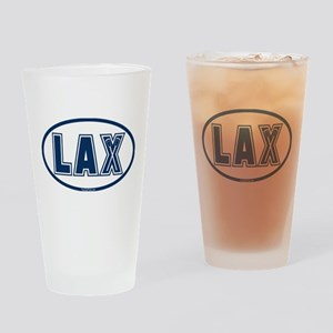 Lacrosse Oval LAX Blue Drinking Glass