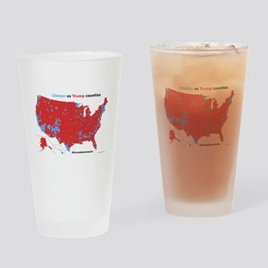 Trump vs Clinton Map Drinking Glass