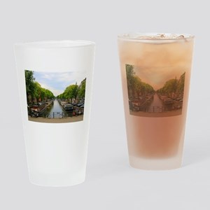 Canal, bridges, bikes, boats, Amste Drinking Glass