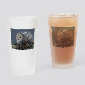 Opossum on a Gnarley Branch Drinking Glass