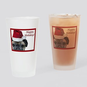 happy holidays pug Drinking Glass