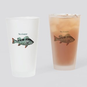 Im a Keeper Fun Quote with Fish Drinking Glass