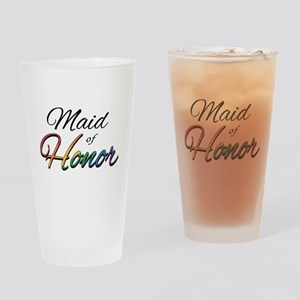 "Rainbow ""Maid of Honor"" Drinking Glass"