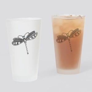 Metallic Silver Dragonfly Drinking Glass