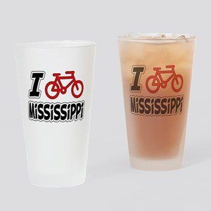 I Love Cycling Mississippi Drinking Glass