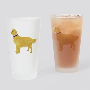 Preppy Golden Retriever Drinking Glass