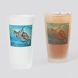 Sea Turtle, wildlife, art, Drinking Glass