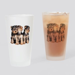 Yorkie Puppies Drinking Glass