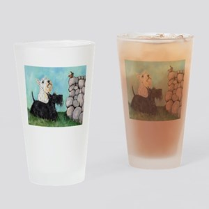 Scotties and Wren Drinking Glass