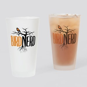 Bird Nerd (Black and Orange) Drinking Glass